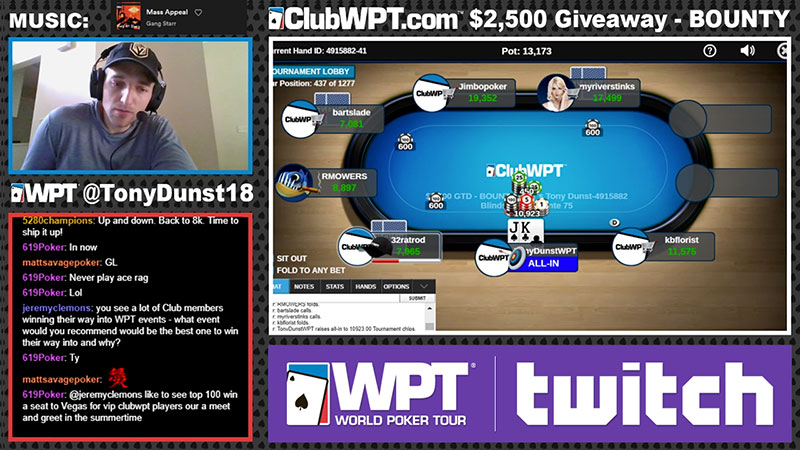 Tony Dunst playing poker on Twitch